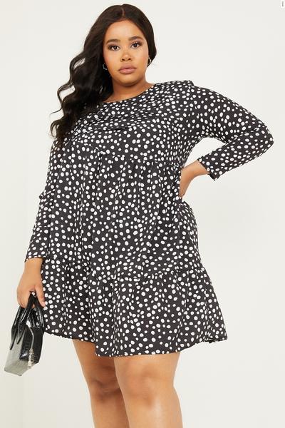 Curve Black Polka Dot Tiered Dress